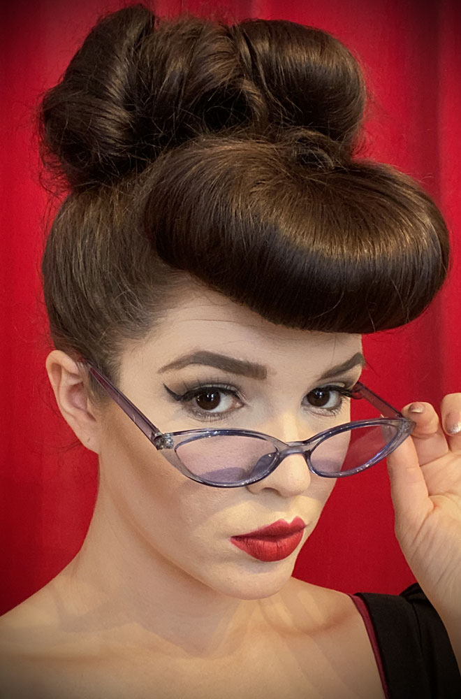 Vintage style Lola Smoke Sunglasses at Deadly is the Female. Effortlessly add some kitsch glamour with these round sunglasses!