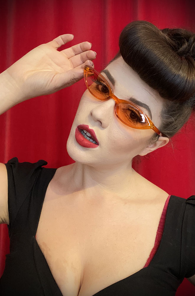 Vintage style Lola Tangerine Sunglasses at Deadly is the Female. Effortlessly add some kitsch glamour with these round sunglasses!