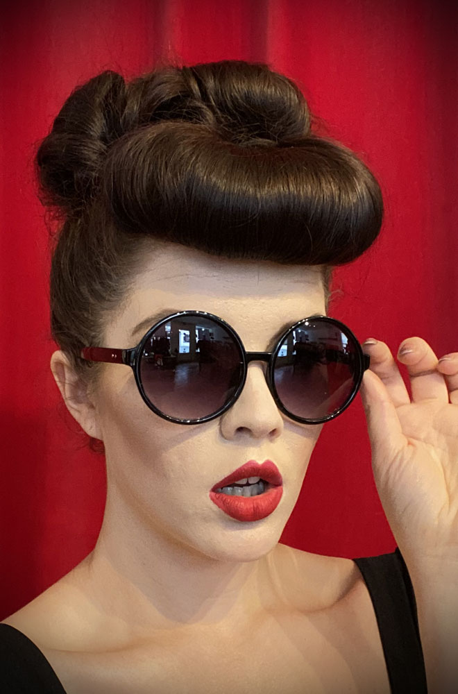 Vintage style Black Gatsby Sunglasses at Deadly is the Female. Effortlessly add some 1920s glamour to your day with these round sunglasses!
