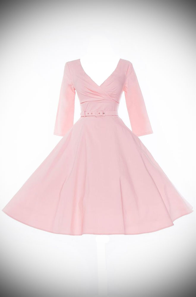 The Baby Pink Erin Swing Dress is a fab 50's style in a great range of sizes. Deadly is the Female are proud UK stockists of Pinup Girl Clothing House Brands.