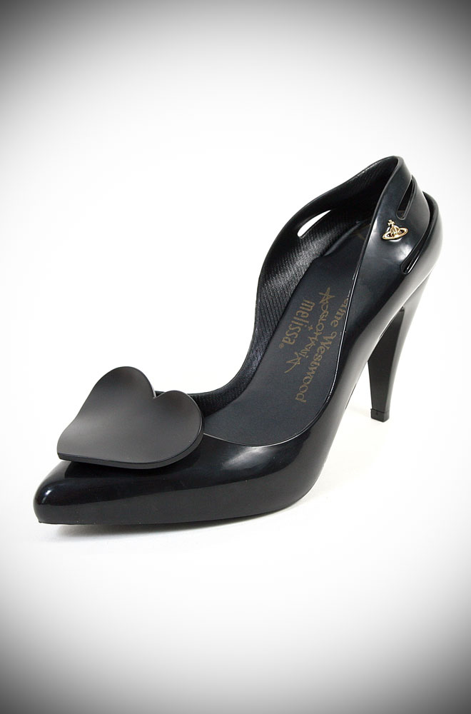 Melissa + Vivienne Westwood Classic Heels with Black Heart at Deadly is the Female. These stunning black heels are timeless and they small like bubblegum!