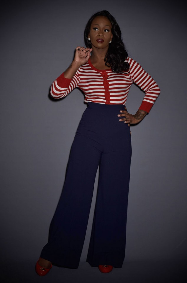 navy blue high waisted navy 30s Wide Leg Trousers