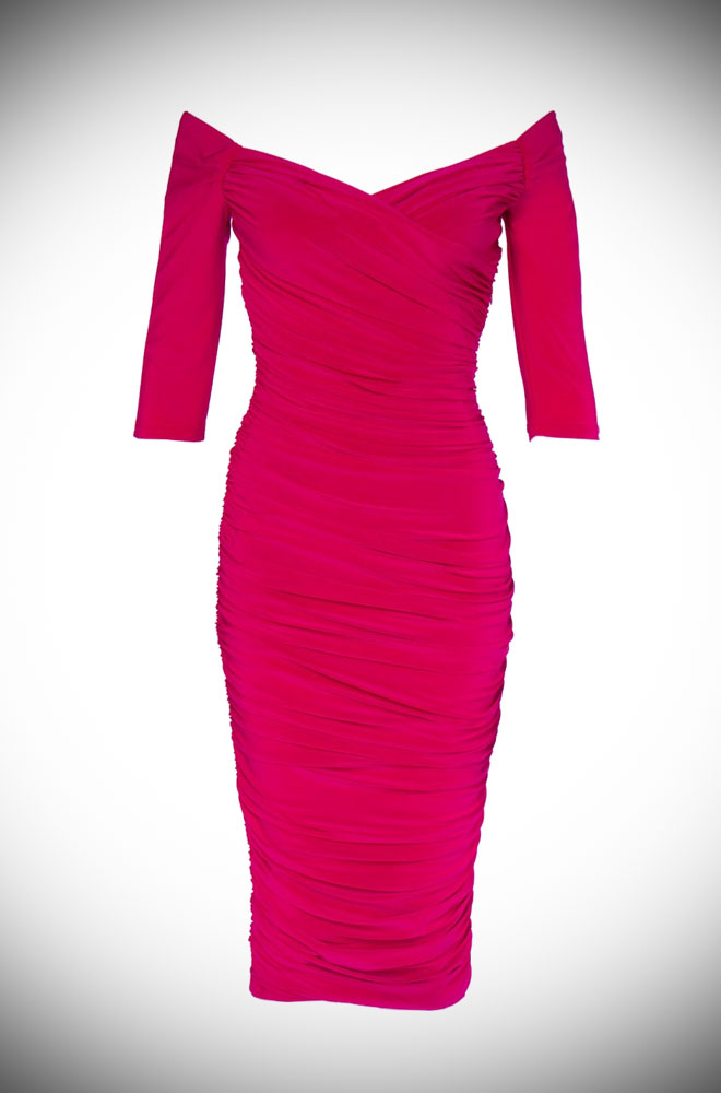 The Laura Byrnes Hot Pink Monica Dress is the ultimate 50's style wiggle dress, carefully walking the line between sultry, demure and all out sex kitten!