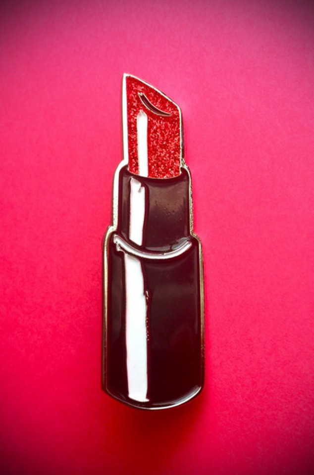The Vixen Lipstick Lapel Pin by Vixen by Micheline Pitt has arrived at UK stockists, Deadly is the Female. Good things for bad girls.