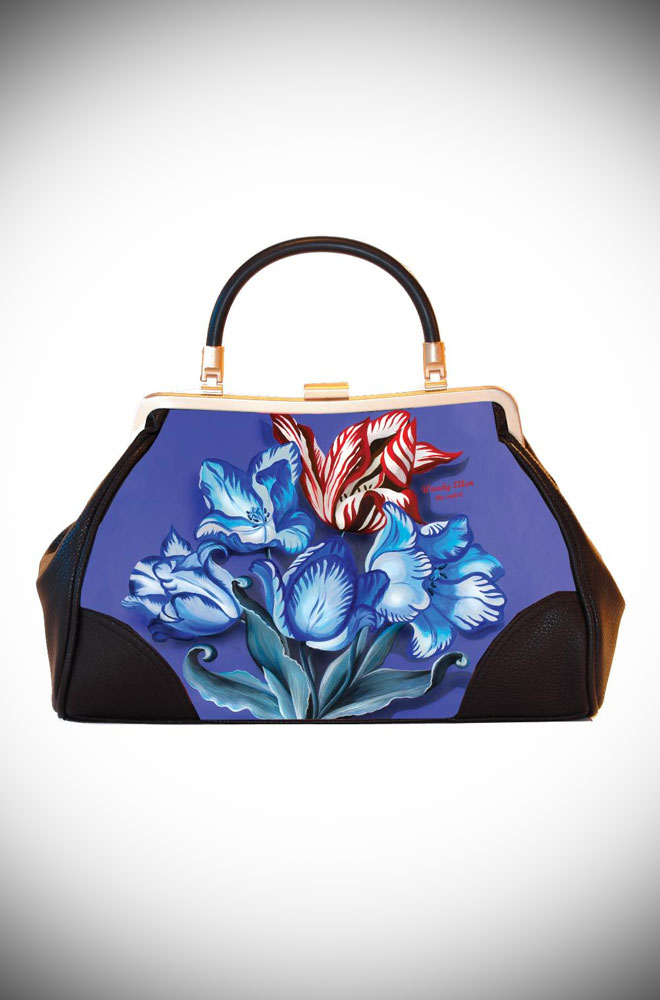 Woody Ellen the Artist, Ladylike Redro Handbag clutch featuring Burlesque inspired floral artwork