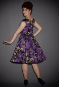 UK stockists of Retrospec'd Clothing. Introducing the Empire Dress in Lilac print, a classic 50s style floral dress in black & purple.