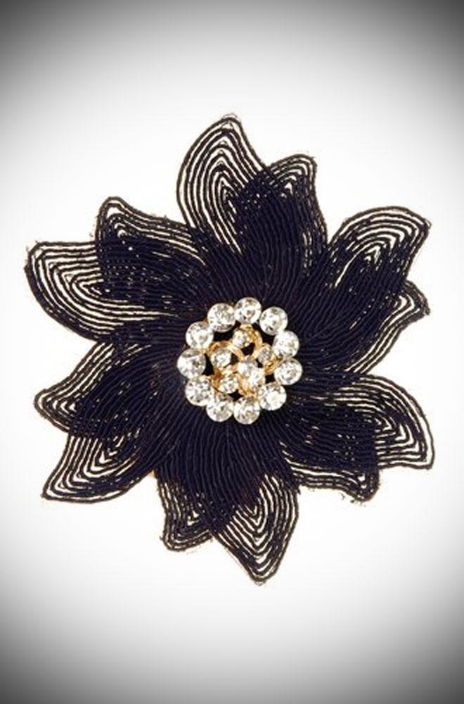 Jet Embellished Crystal Rose Clip for pin up girls.
