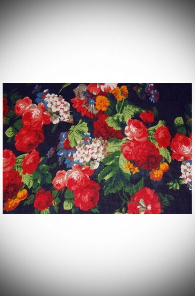 Black Vintage Roses Scarf