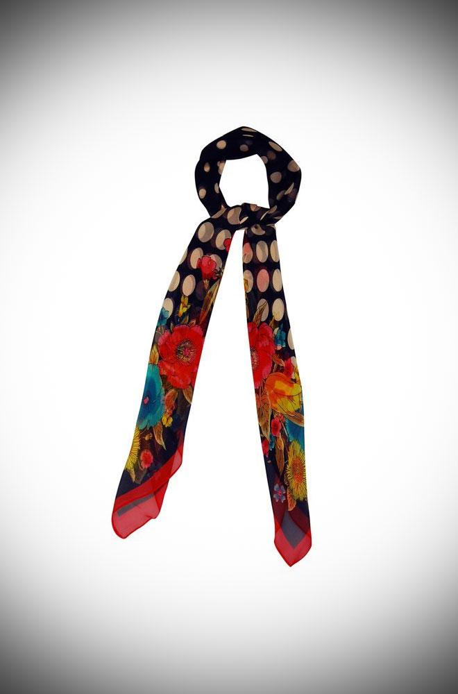 Polka Dot Neckerchief - a Polka dot and floral printed scarf