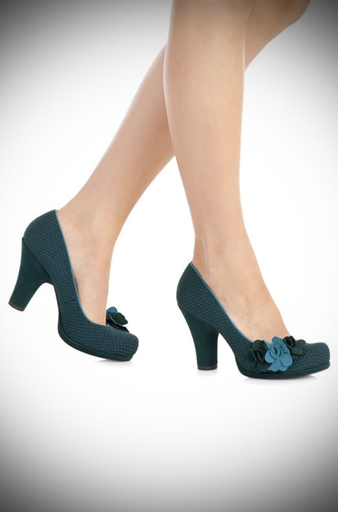 Striking petrol blue medium height closed court shoe with petrol and turquoise rose details - so romantic! Ruby Shoo's Eva shoes at Deadly is the Female