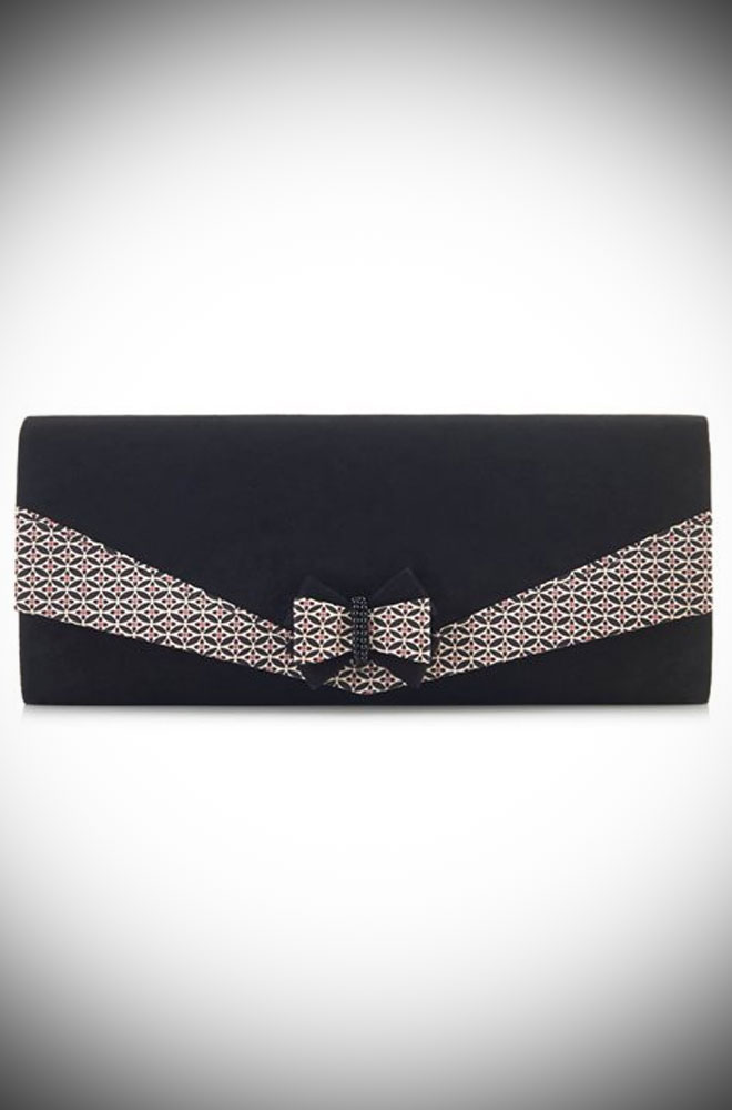 The Montreal Bag is a chic black clutch with dainty geometric print details. by Ruby Shoo at Deadly is the Female.
