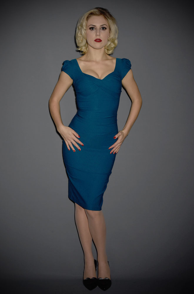 Stop Staring Billion Dollar Baby Dress in peacock blue - the perfect dress to help you stand out from the crowd! This wiggle dress is an attention grabber!