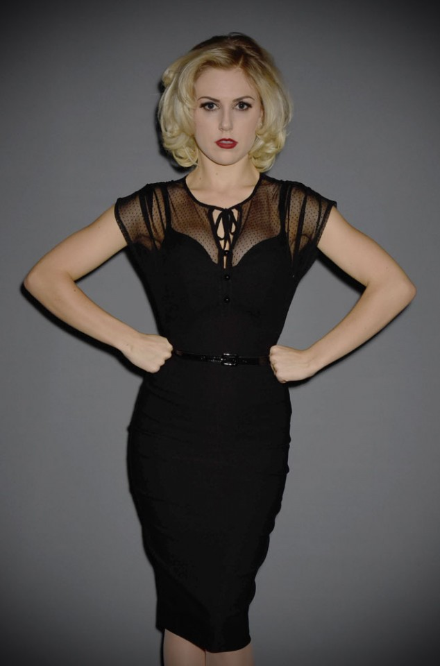 The Stop Staring Twilight Dress dress is a 1940's pinup Film Noir Dress dress. This stunning LBD is available at official UK stockists Deadly is the Female.