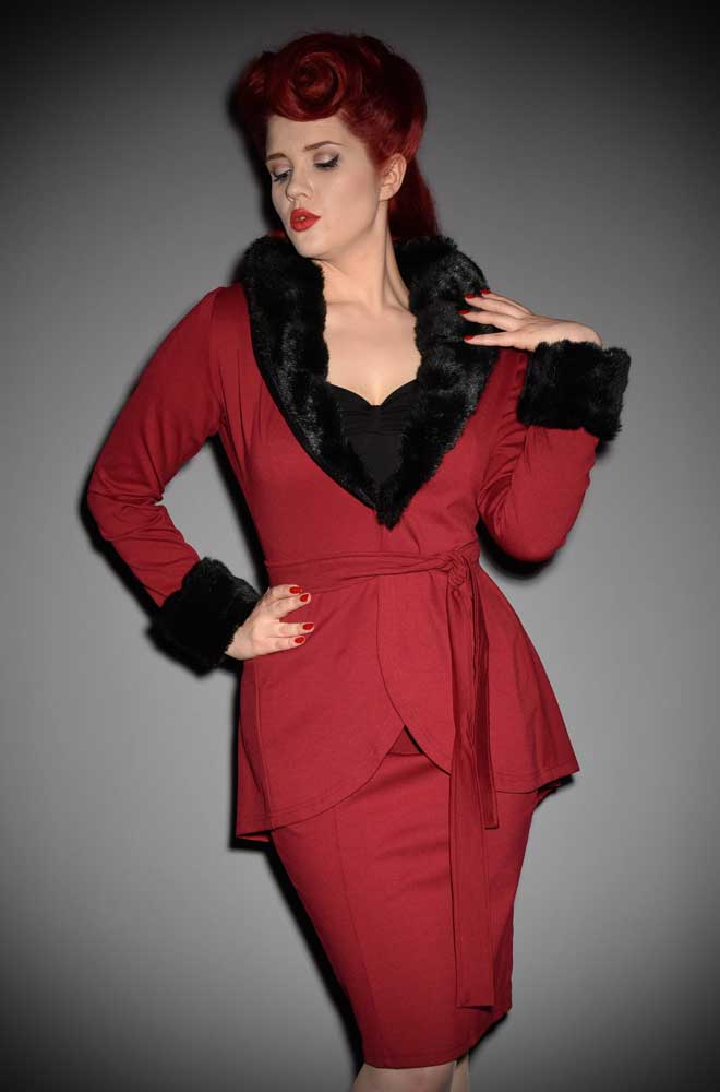 Simply Divine, this vintage style faux fur jacket in burgundy is timeless! Heart of Haute at UK stockists, Deadly is the Female.