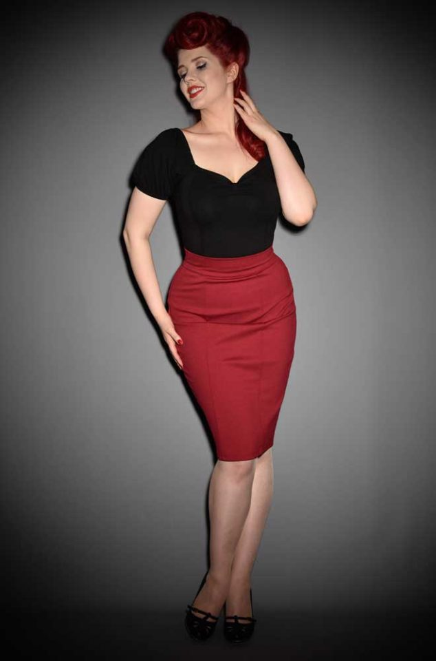 ThePrincess Pencil Skirt is aclassic high waisted pencil skirt in a beautiful shade of burgundy! Heart of Haute at UK stockists, Deadly is the Female.