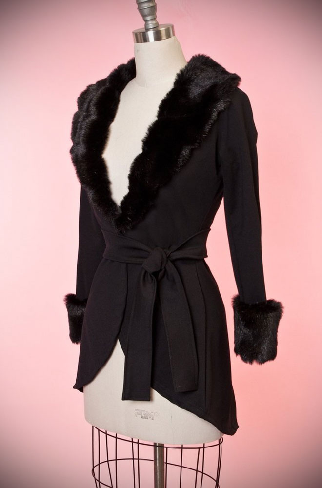 Simply Divine, this black vintage style faux fur jacket is timeless! Heart of Haute at UK stockists, Deadly is the Female.