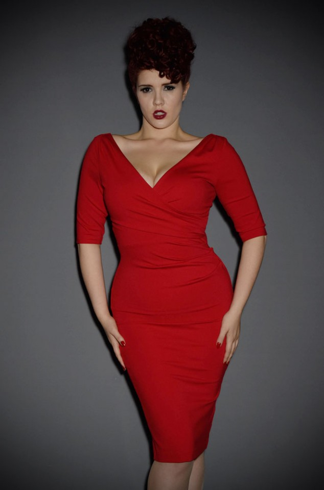 The Mansfield Dress is a timeless red wiggle dress, inspired by the starlet fashions of the late 1950s/early 60s. Perfect for pinups day or night.