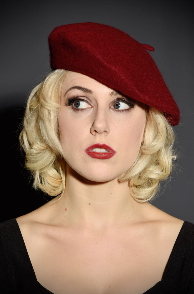 100% Wool Beret in burgundy - a perfect pinup accessory at Deadly is the Female