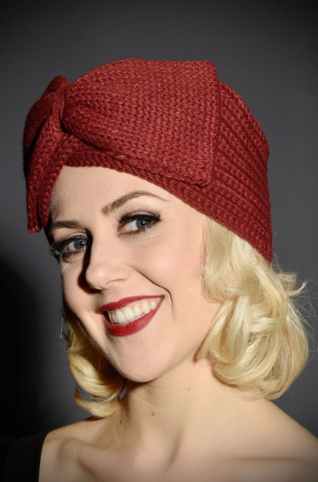 Vintage style burgundy bow turban style hat at Deadly is the Female. Perfect gift for pinup girls & vintage gals.