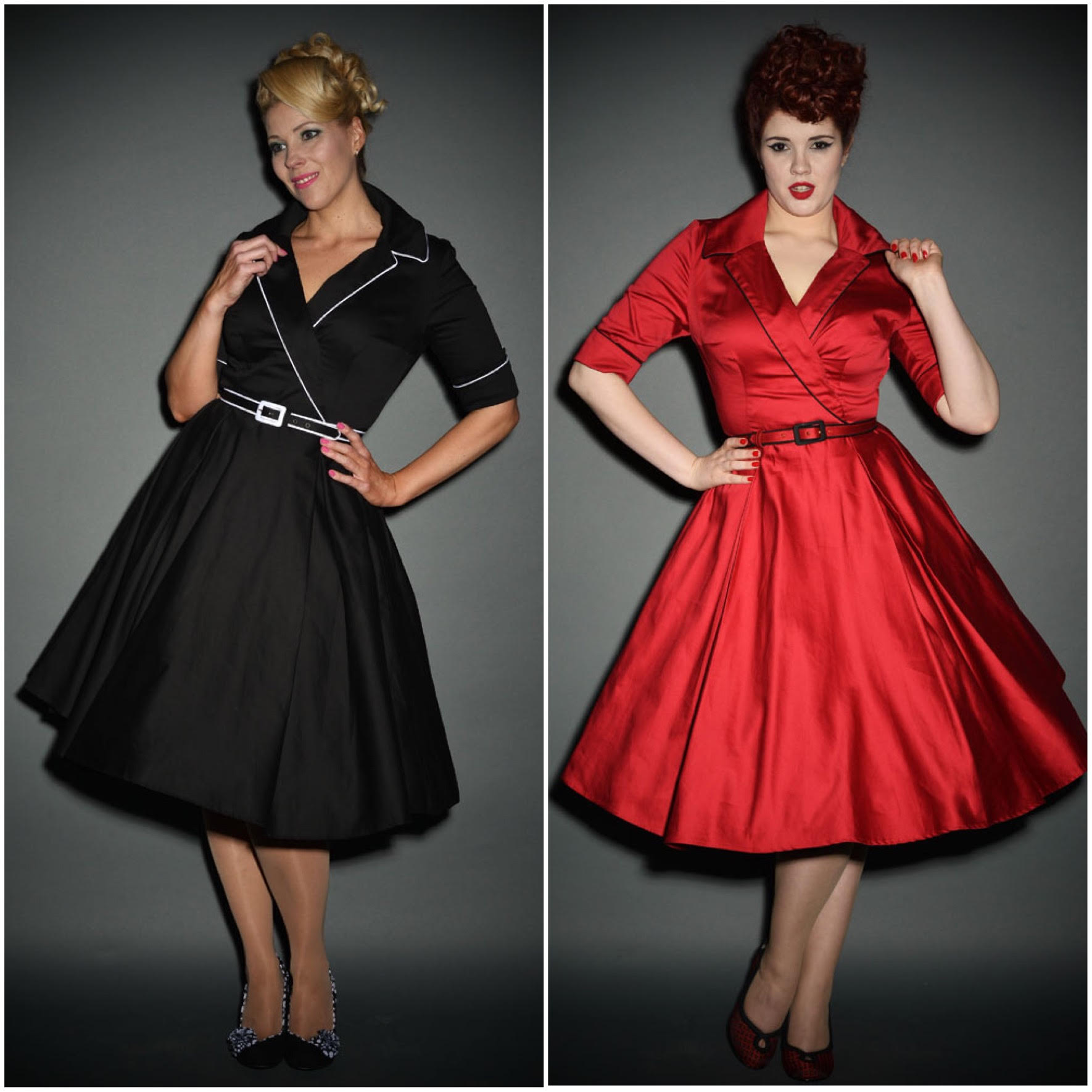 Haunted Housewife Swing Dress in Black and Red Deadly Dames