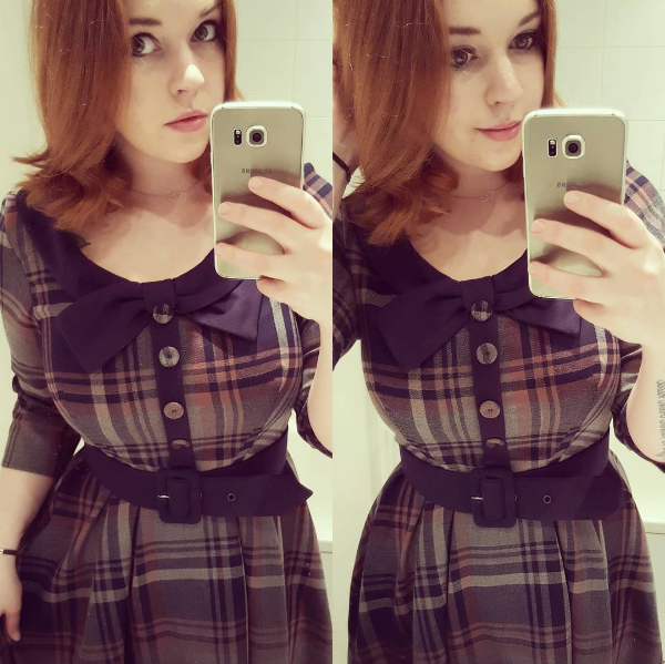 Customer of the Week Genevieve Tartan Swing Dress