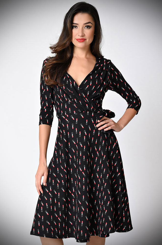 This Lipstick Wrap Dress is the perfect dress to take you from day to evening. Deadly is the Female are proud UK stockists of Unique vintage.
