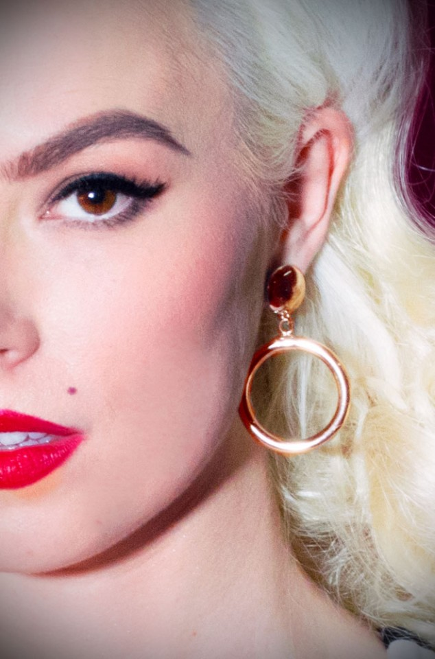 Vixen by Micheline Pitt Bad Girl Hoops in 14K Gold. These are 100% Vintage reproduction 1950's earrings available at UK stockists, Deadly is the Female