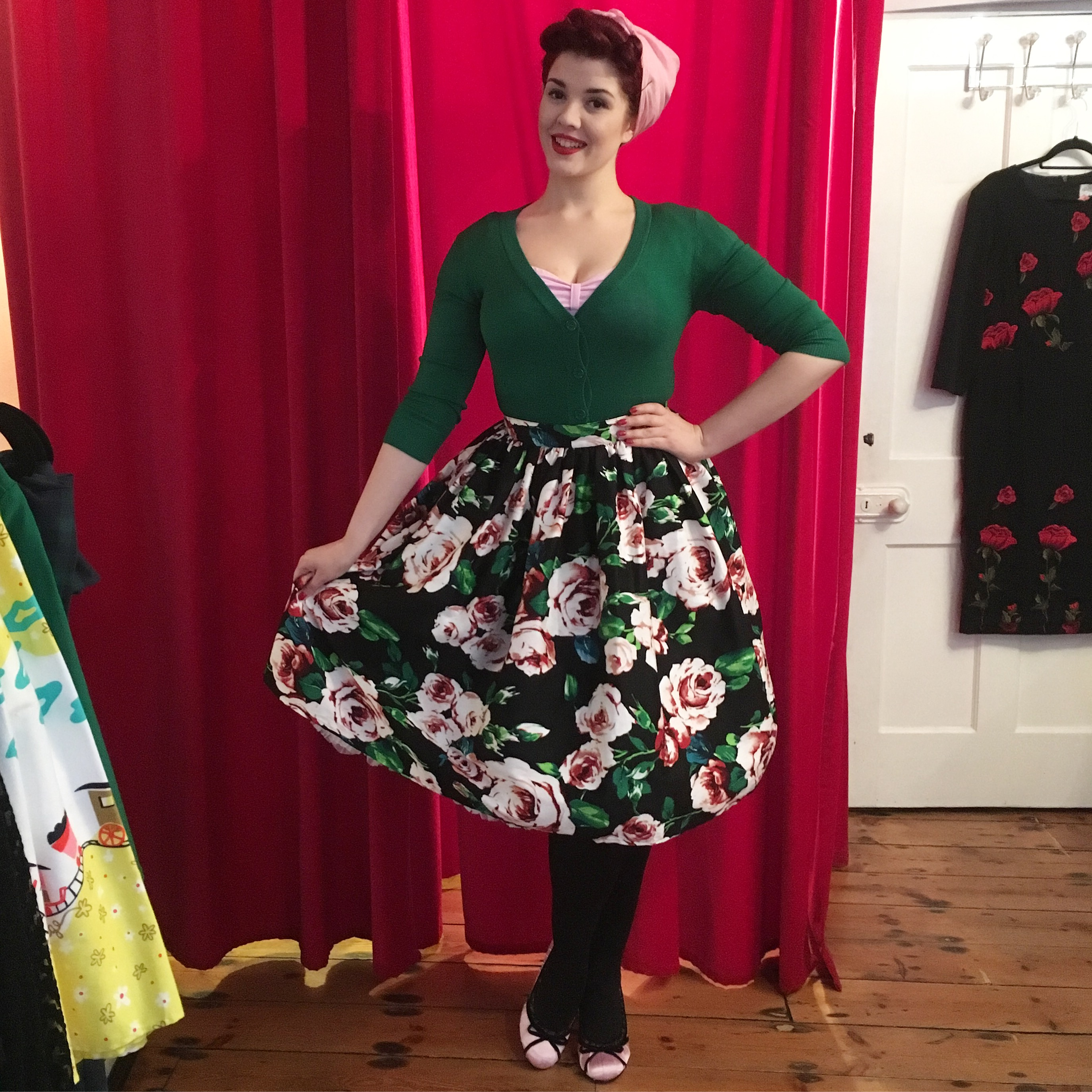 50's Floral Swing Skirt Unique Vintage Deadly is the Female