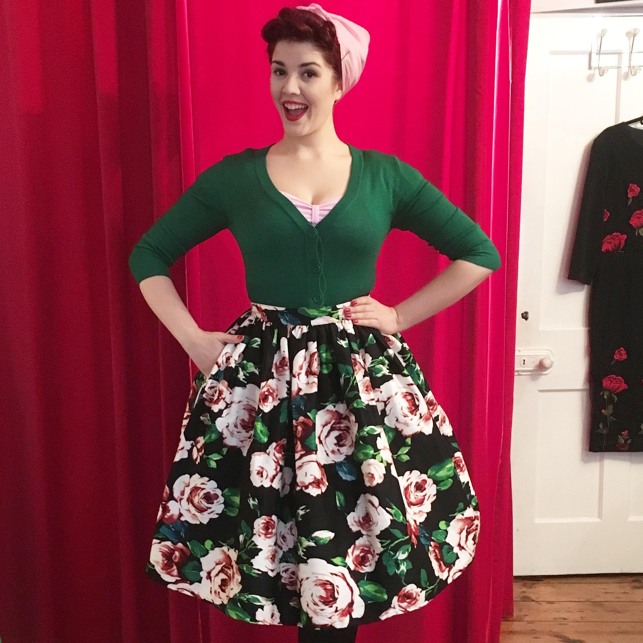 50s Floral Swing Skirt Unique Vintage