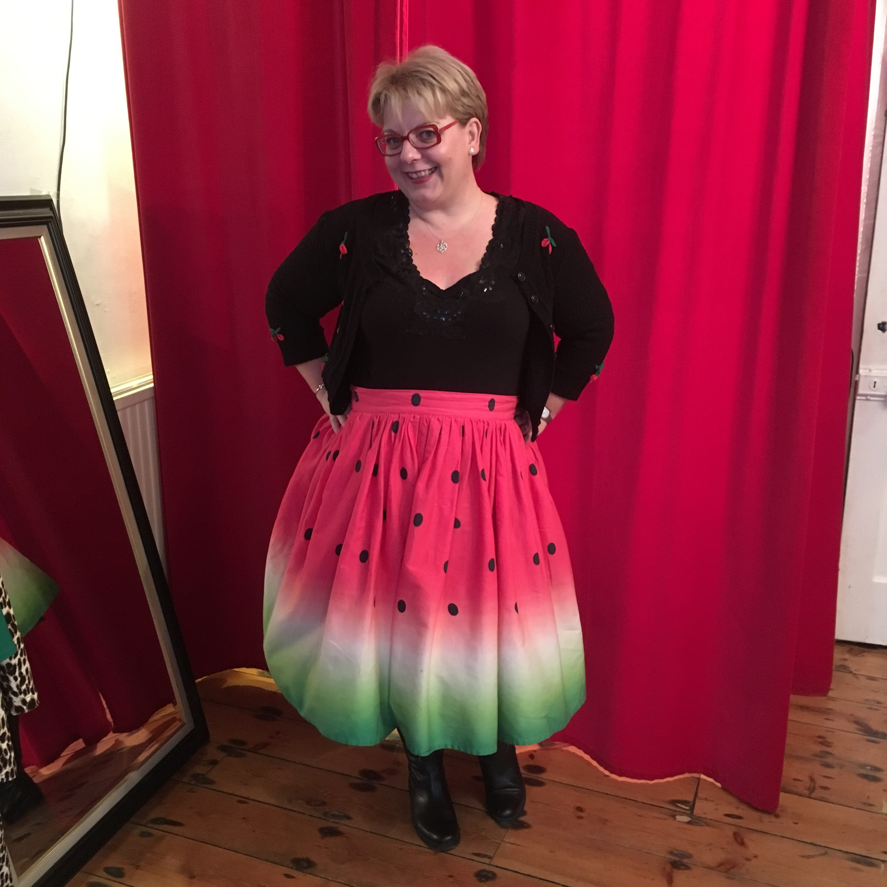 Kathrine wearing the 50's Watermelon Skirt