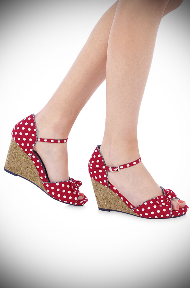 Molly Wedges by Ruby Shoo. These red polka dot wedges are adorable rockabilly heels, perfect for pinups and vintage starlets!