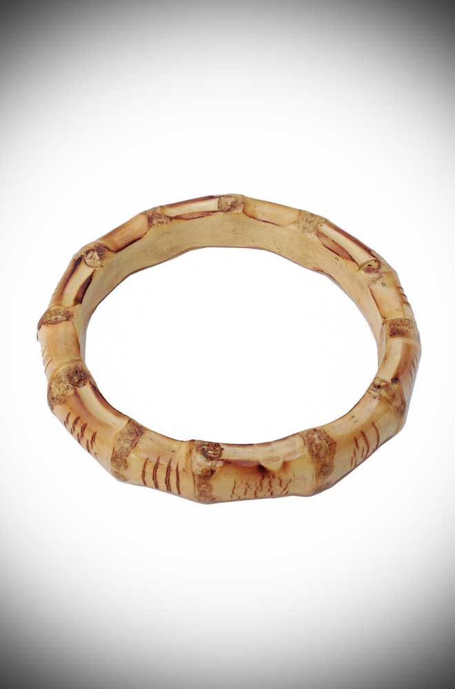 Super kitsch & tiki inspired, we adore this chunky, round bamboo bangle by Lady Luck's Boutique here at Deadly is the Female!