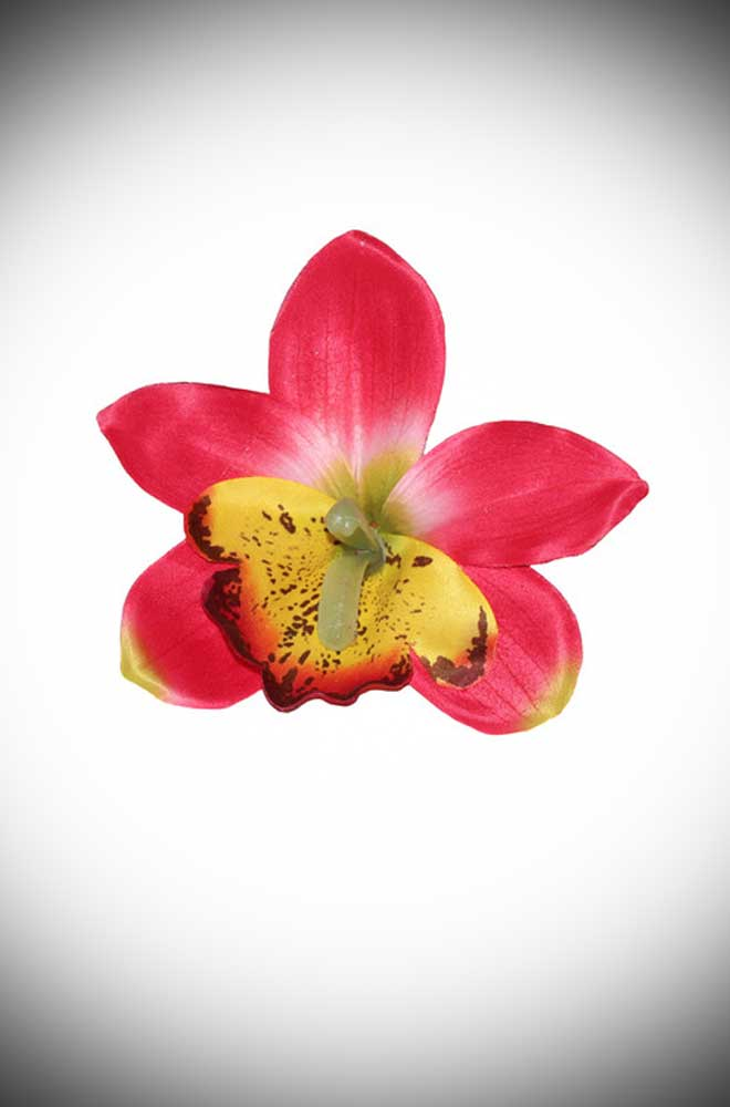 Add some instant tropical glamour to your look with this Gigi Red Orchid Hair Flower. A classic orchid flower mounted on a small hair clip.