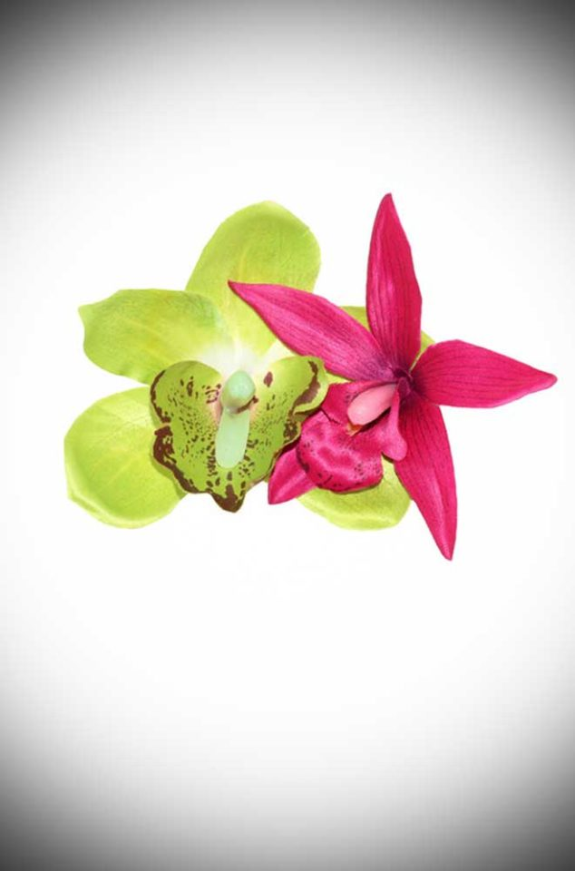 Add some instant tropical glamour to your look with this Kiki Hair Flower. A tiki-tastic pair of lime and cerise orchid flowers on a hair clip.