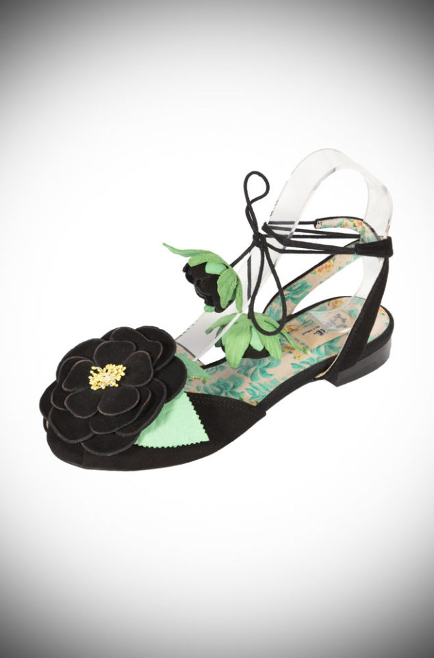 The Miss L Fire Rosetta sandals are beautiful tie up sandals. We adore the old fashioned rose over the toes and the rose buds on the ties are darling.