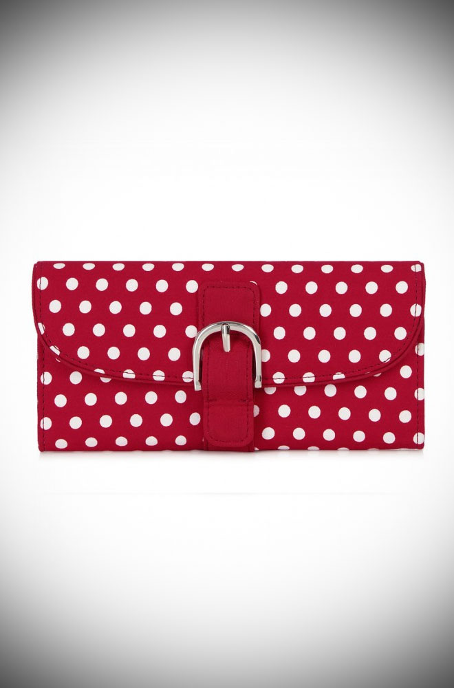 The Como Wallet is a red polka dot purse that matches perfectly with our Jessica and Molly Shoes. This dotty bag will take you from day to evening in style.