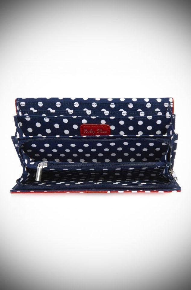 red polka dot purse