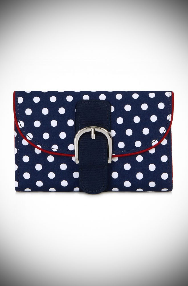 The Garda Wallet is a navy polka dot purse that matches perfectly with our Amy Shoes. This dotty bag will take you from day to evening in style.