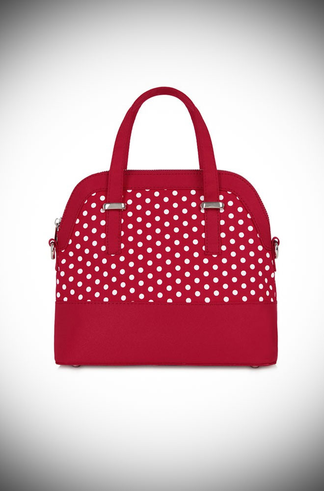 The Lima Bag is a red polka dot bag that matches perfectly with our Amy Shoes. This dotty bag will take you from day to evening in style.
