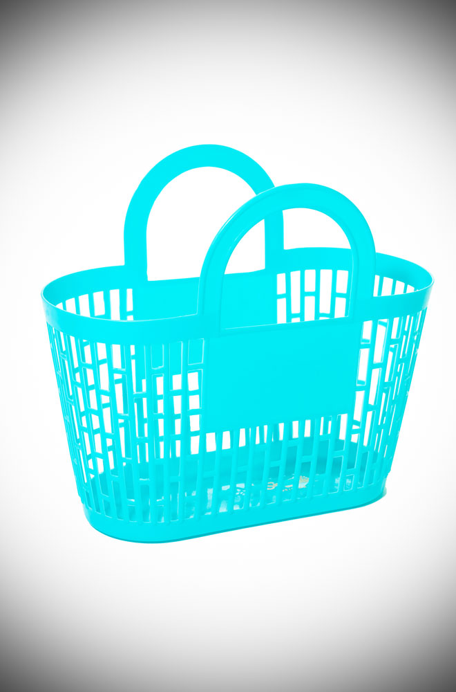 This neon blue carnival basket is a fab 1960s vintage style basket bag. Perfect for popping to the shops, beach or any occasion your want to look adorable!