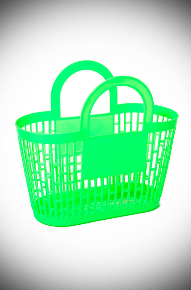 This neon green carnival basket is a fab 1960s vintage style basket bag. Perfect for popping to the shops, beach or any occasion your want to look adorable!