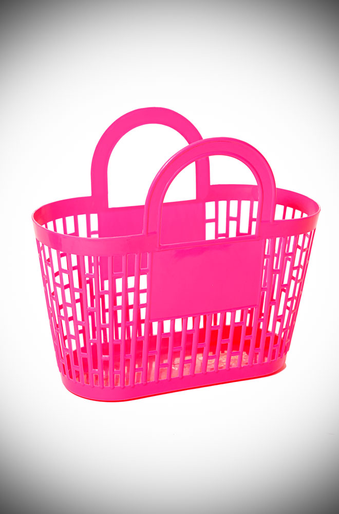 This neon pink carnival basket is a fab 1960s vintage style basket bag. Perfect for popping to the shops, beach or any occasion your want to look adorable!