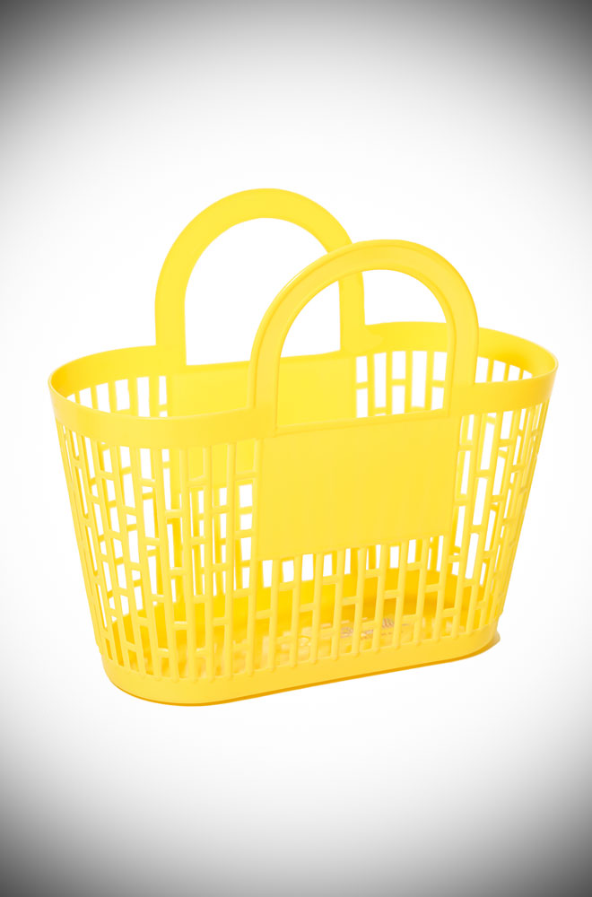 This yellow carnival basket is a fab 1960s vintage style basket bag. Perfect for popping to the shops, beach or any occasion your want to look adorable!