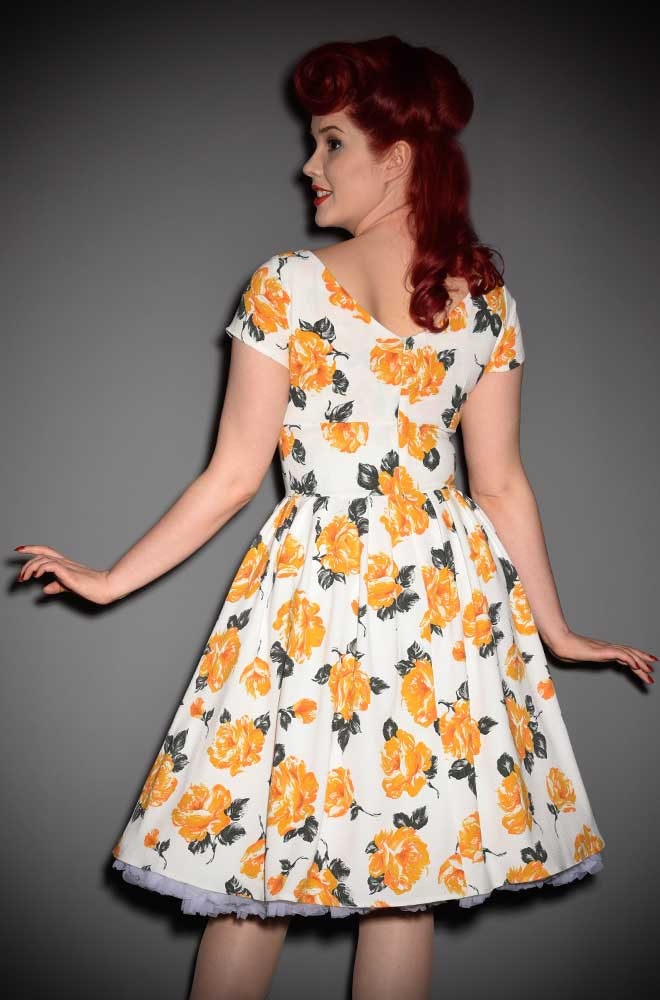 Timeless vintage style in an instant. Introducing the Lucy Dress in Amber Floral by House of Foxy at DeadlyistheFemale.com