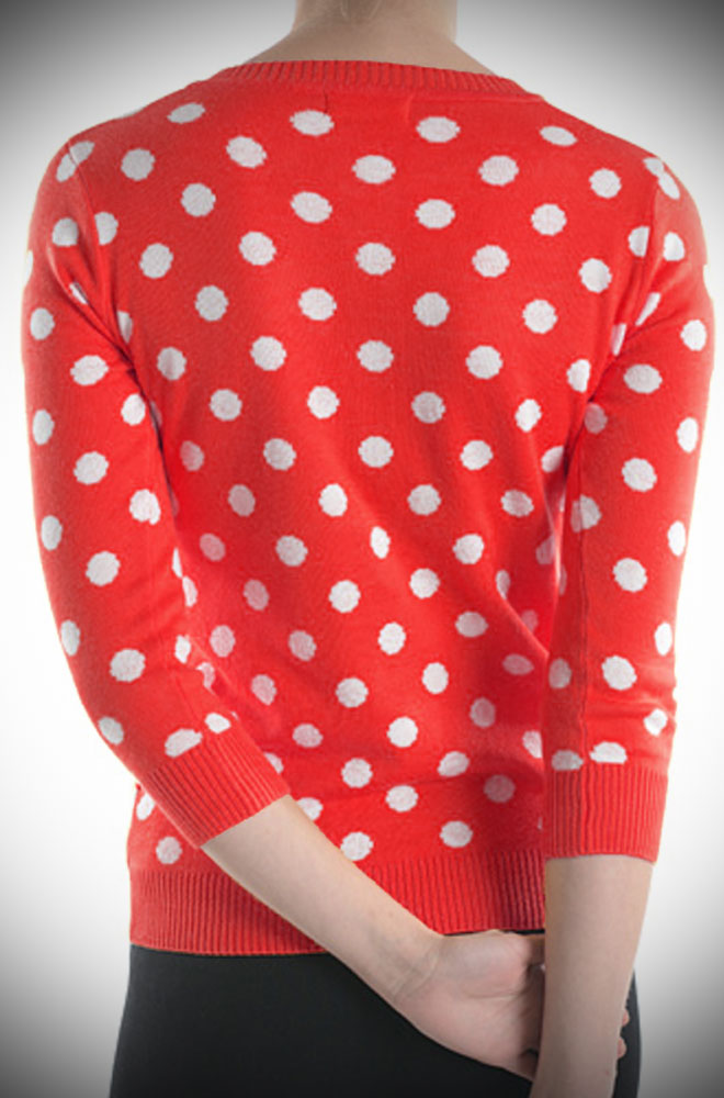 This Red Polka Dot Cardigan will instantly add extra warmth and retro charm to your look with this cute cardigan. Perfect for pinup girls & vintage gals.