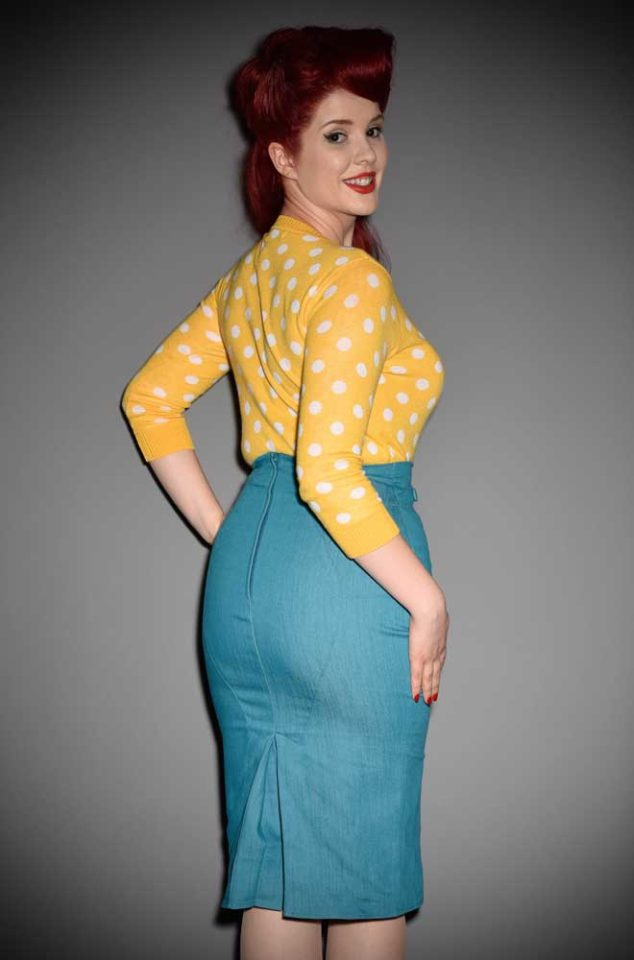 This Yellow Polka Dot Cardigan will instantly add extra warmth and retro charm to your look with this cute cardigan. Perfect for pinup girls & vintage gals.