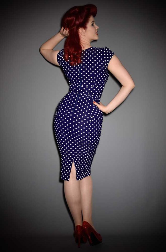 The Stop Staring! Celebrity Dress in navy & white polka dots is understated glamour at it's best. DeadlyistheFemale.com are UK stockists of Stop Staring!