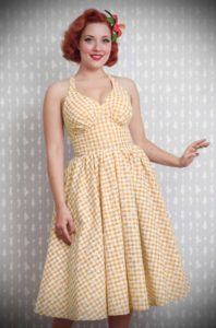 Margarita Dress - a yellow daisy gingham summer dress by Miss Candyfloss at UK stockists, Deadly is the Female. Housewife Chic at it's very best.
