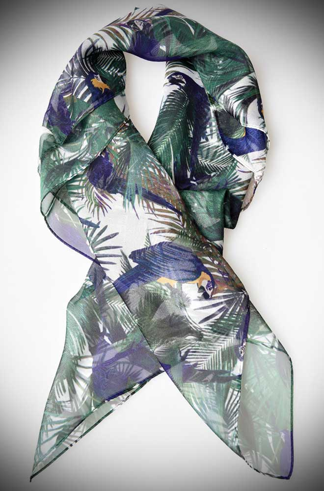 Instant pinup style with this luscious tropical parrot printed hair scarf! A silky vintage inspired chiffon scarf perfect for tying up and around your divine 'do. Any excuse for a little sky-high hair help!