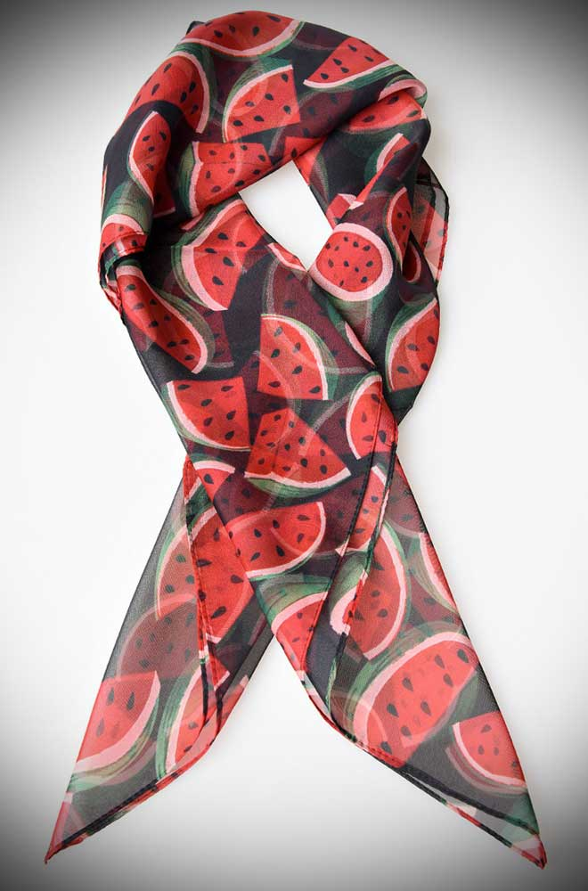 Instant pinup style with this black and juicy watermelon printed hair scarf! A silky vintage inspired chiffon scarf perfect for tying up and around your divine 'do. Any excuse for a little sky-high hair help!